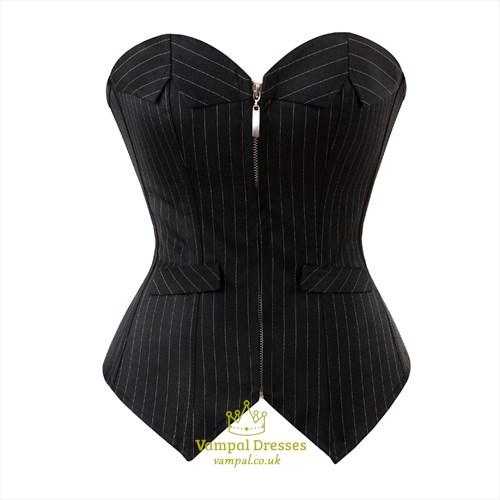 Black Suit Stripe Zipper Front Court Shaper Corset