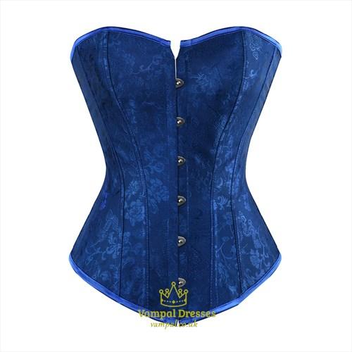 Royal Blue Jacquard Embroidery Court Shaper Corset