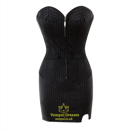 Black Two Piece Strapless Suit Stripe Court Shaper Corset