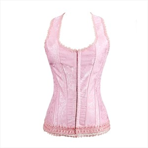 Pink Halter Jacquard Embroidery Court Shaper Corset