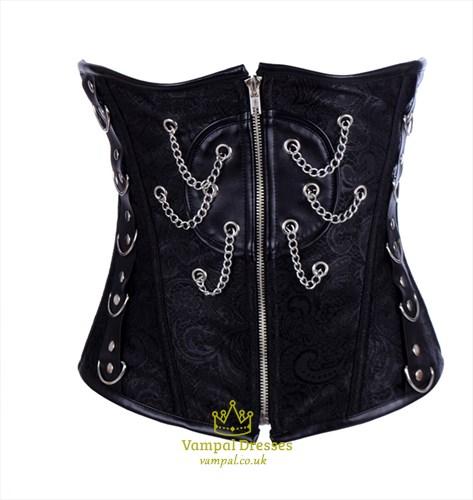 Black Lace Embellished Court Waist Cincher With Boning