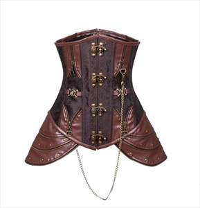 Classic Brown Leather Embroidery Court Waist Cincher Shaper Corset