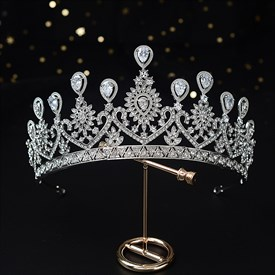 Alloy Bridal Tiara Princess Headpieces With Rhinestone Accents