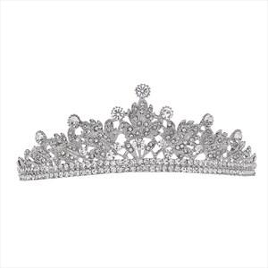 Silver Alloy Leaf Princess Bridal Tiara With Rhinestone Accents