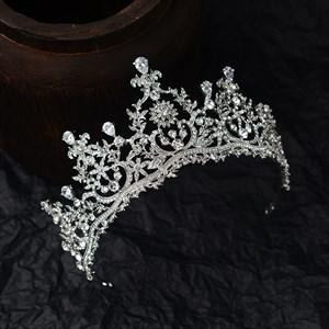 Silver Zircon Leaf Princess Headpieces Bridal Tiara