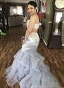 Silver Lace Applique Ruffled Organza Long Prom Dress With Side Cutouts