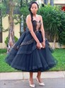 Black Sweetheart Beaded Embellished Tea Length Wedding Prom Dresses