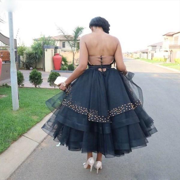 Black Sweetheart Beaded Embellished Tea Length Wedding Prom Dresses