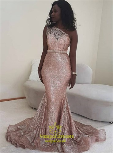 Glitter Pink Sequin One Shoulder Mermaid Evening Dresses With Beading