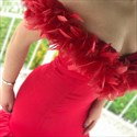 Red Mermaid Off The Shoulder Prom Dress With Feathers On Shoulders
