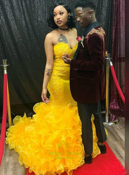 Yellow Sweetheart Mermaid Ruffled Organza Lace Applique Prom Dresses