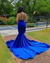 Royal Blue Deep V Neck Mermaid Lace Applique Backless Long Prom Dress