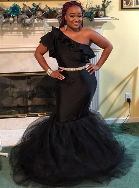 Black Mermaid One Shoulder Ruffle Prom Dress With Rhinestone Belt