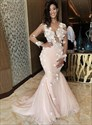 Peach Mermaid Illusion Lace Applique Prom Dress With Long Sleeves