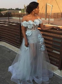 Blue Illusion Sheer Off The Shoulder Tulle Prom Dress With 3d Flowers