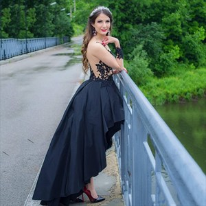 Black Illusion Sheer Lace Applique Long Sleeves High Low Prom Dresses