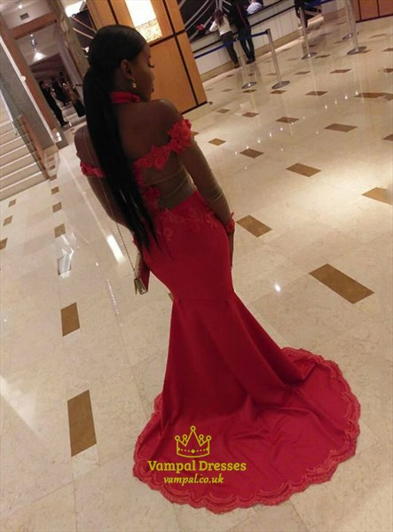 Red Illusion Sheer Lace Applique Mermaid Prom Dress With Long Sleeves