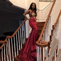 Burgundy V-Neck Lace Applique Mermaid Prom Dress With Split Front