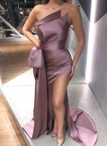 Mauve Purple Strapless Mermaid Pleated Prom Dress With Split Front