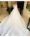 Ivory Off The Shoulder Lace Applique Wedding Dress With Long Sleeves
