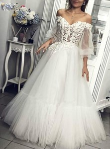 Ivory Off The Shoulder Sheer Illusion Bodice Long Sleeve Wedding Dress