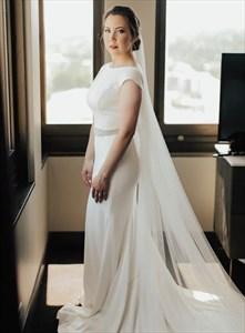 Ivory Mermaid Cap Sleeve Backless Wedding Dress With Beaded Sash