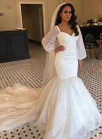 Ivory Sequins Trumpet Mermaid Long Sleeve Wedding Dress With Train