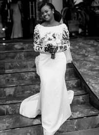 Ivory Satin Lace Applique Wedding Dress With Sheer Embellished Sleeves