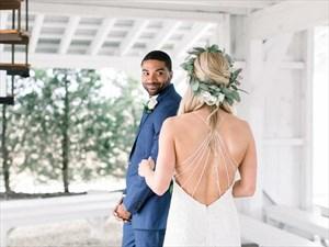 Ivory V-Neck Lace Overlay Spaghetti Strap Backless Beach Wedding Dress