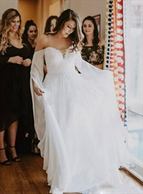 Ivory A-Line Long Sleeves Chiffon Wedding Dress With Lace Appliques