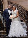 Ivory Mermaid Beaded Pleated Ruffle Layered Cap Sleeves Wedding Dress