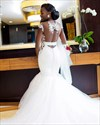 Ivory Mermaid Beaded Lace Applique Backless Tulle Wedding Dress