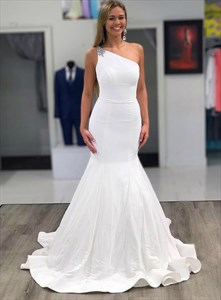 Ivory One Shoulder Beaded Mermaid Satin Wedding Dress