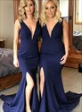 Navy Blue V-Neck Sleeveless Bridesmaid Dress With Slits Up The Leg