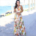 V-Neck Print Spaghetti Straps Maxi Dresses With V-Back