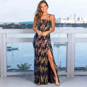 Glittery Sequin Spaghetti Straps Maxi Dress With Side Split