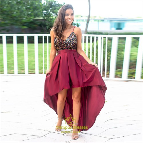V-Neck Sequin Bodice Spaghetti Straps High-Low Maxi Dress