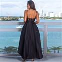 V-Neck Sequin Bodice Spaghetti Straps High-Low Maxi Dress