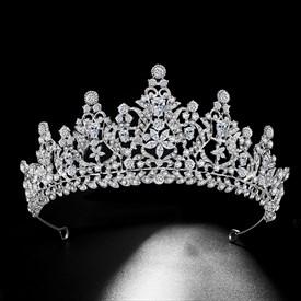 Enchanting Zircon Rhinestone Court Princess Crown Bridal Tiara