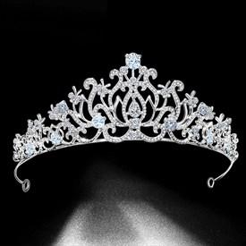 Vintage Zircon Rhinestone Court Princess Crown Bridal Tiara