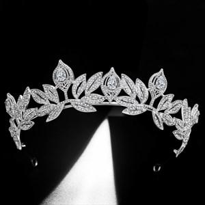 Grecian Leaf Zircon Rhinestone Court Princess Crown Bridal Tiara