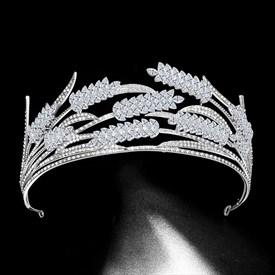 Ears Of Wheat Princess Crown Bridal Tiara With Rhinestone Accents