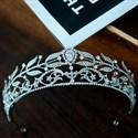 Dramatic Leaf Zircon Bridal Tiara With Rhinestone Accents