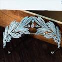 Stylish Leaf Zircon Drip Rhinestone Princess Crown Bridal Tiara