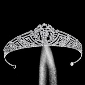 Classic Zircon Princess Crown Bridal Tiara With Rhinestone Accents