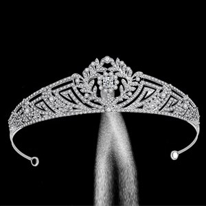 Classic Zircon Princess Crown Bridal Tiara With Rhinestone Accents