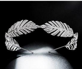 Glamorous Leaf Zircon Princess Headpieces Bridal Tiara