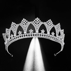 Stunning Alloy Princess Crown Bridal Tiara With Rhinestone Accents