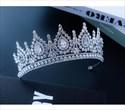 Modern Drip Zircon Princess Crown Bridal Tiara With Rhinestone Accents