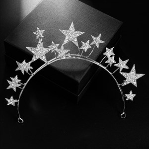 Silver Plated Star Alloy Princess Bridal Headbands
